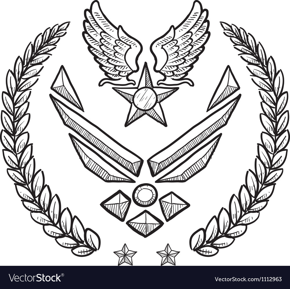 Doodle us military wreath airforce modern vector image