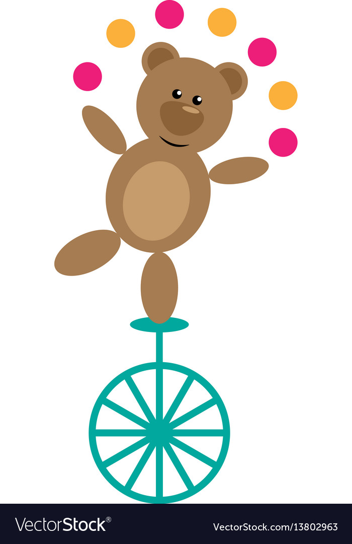 Bear on unicycle vector image