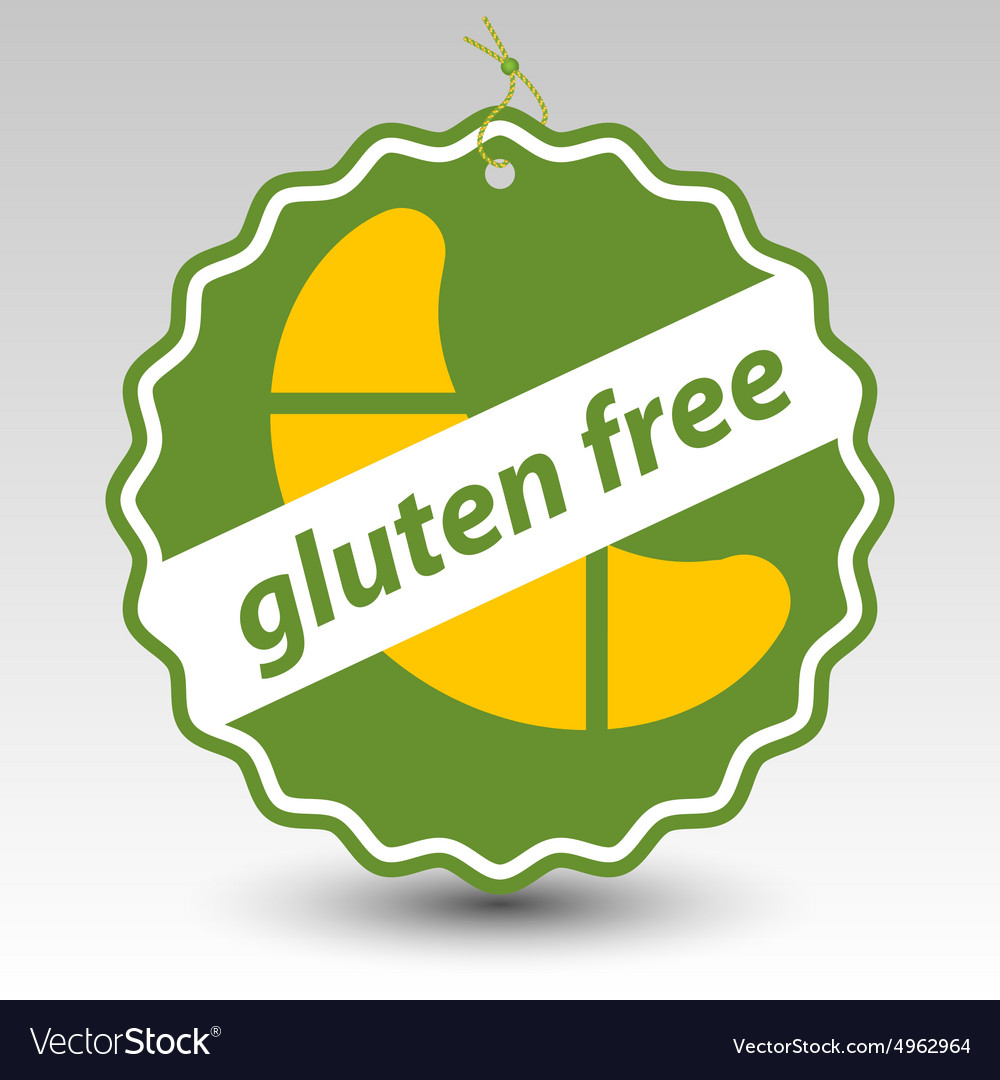Green gluten free roll pastry stamp tag label vector image