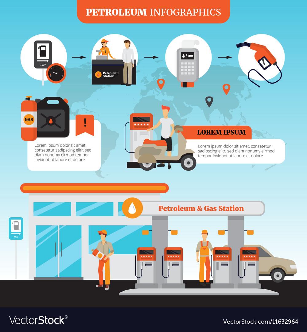 Petrol Station Infographic Set vector image