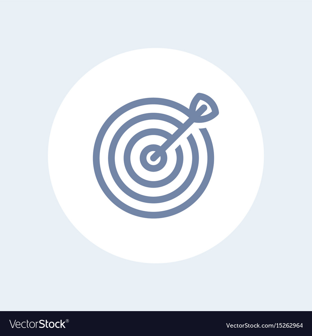 Target with arrow line icon isolated over white vector image