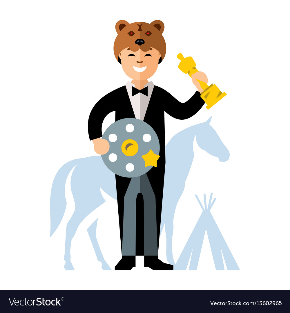 Cinema award best actor flat style vector image
