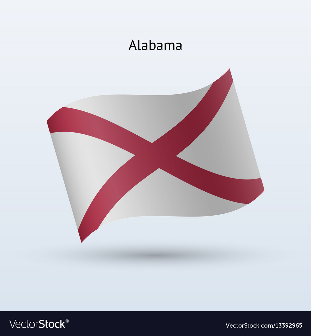 State of alabama flag waving form vector image