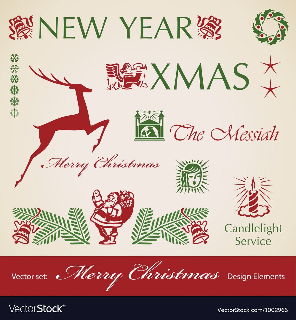 Set of Christmas retro design elements vector image