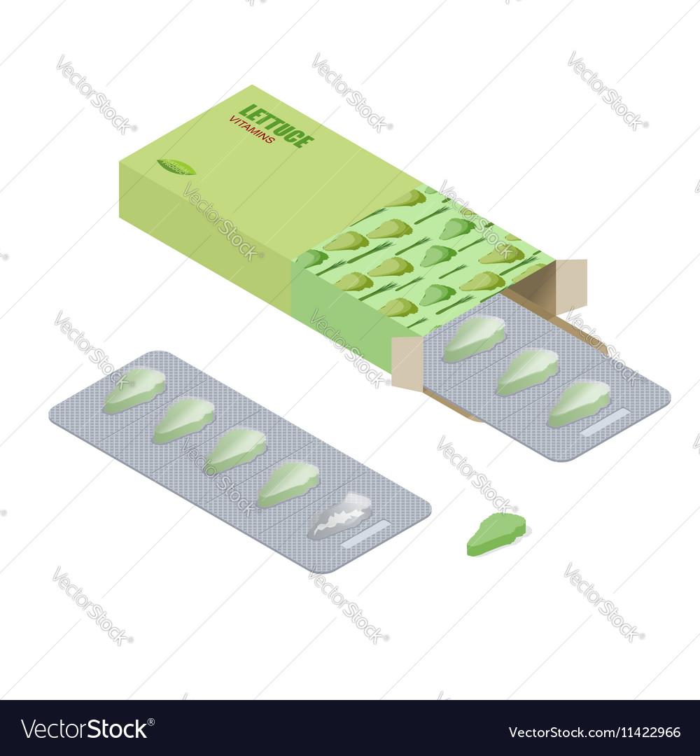Lettuce vitamins Vegetarian pills Diet tablets in vector image