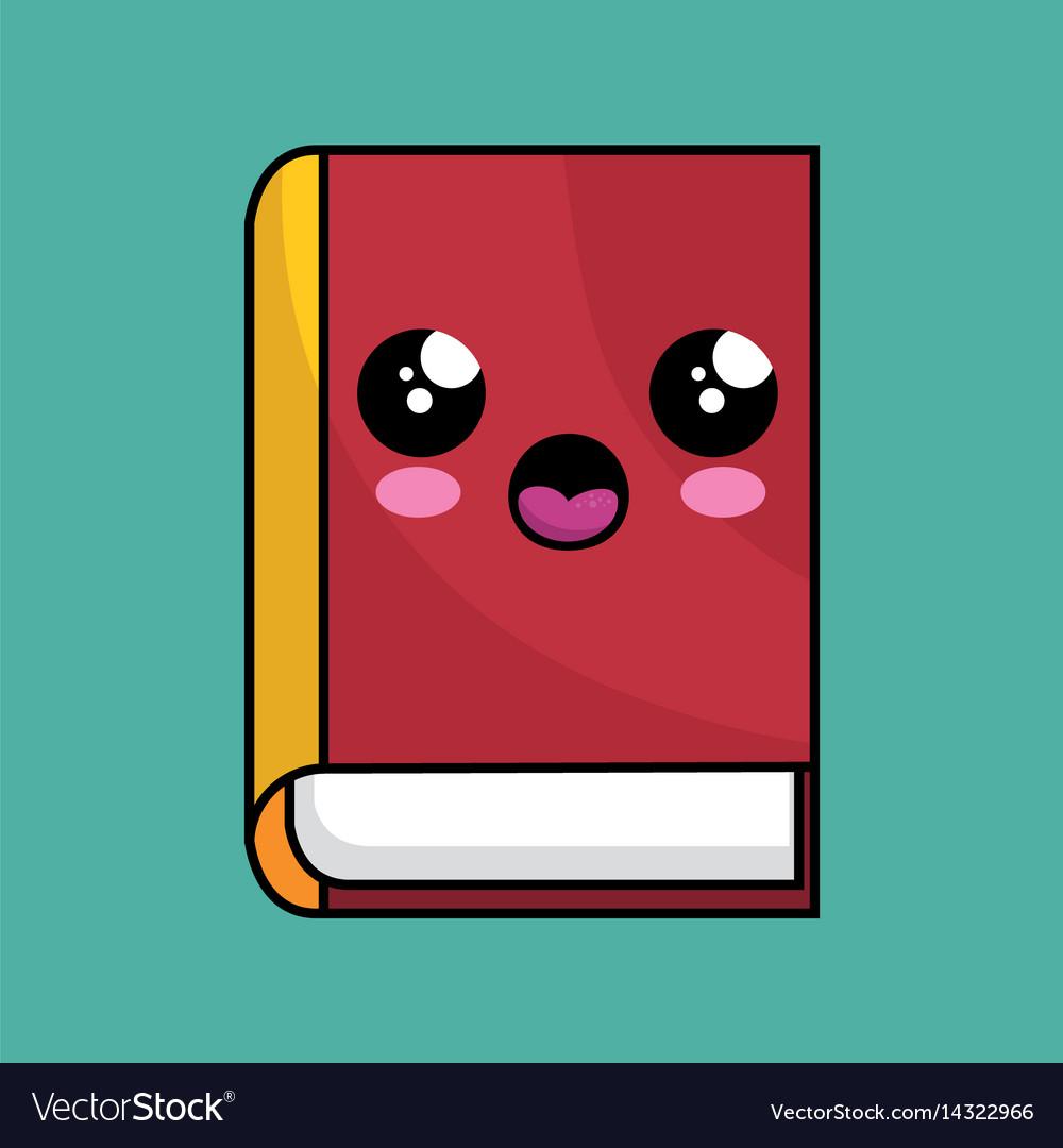 Text book school character kawaii vector image