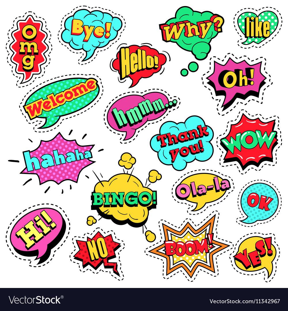 Pop Art Comic Speech Bubbles Set vector image