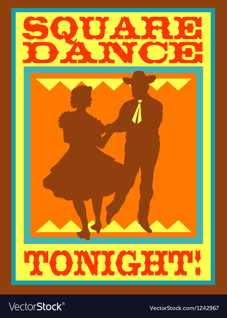 Square dance tonight poster vector image