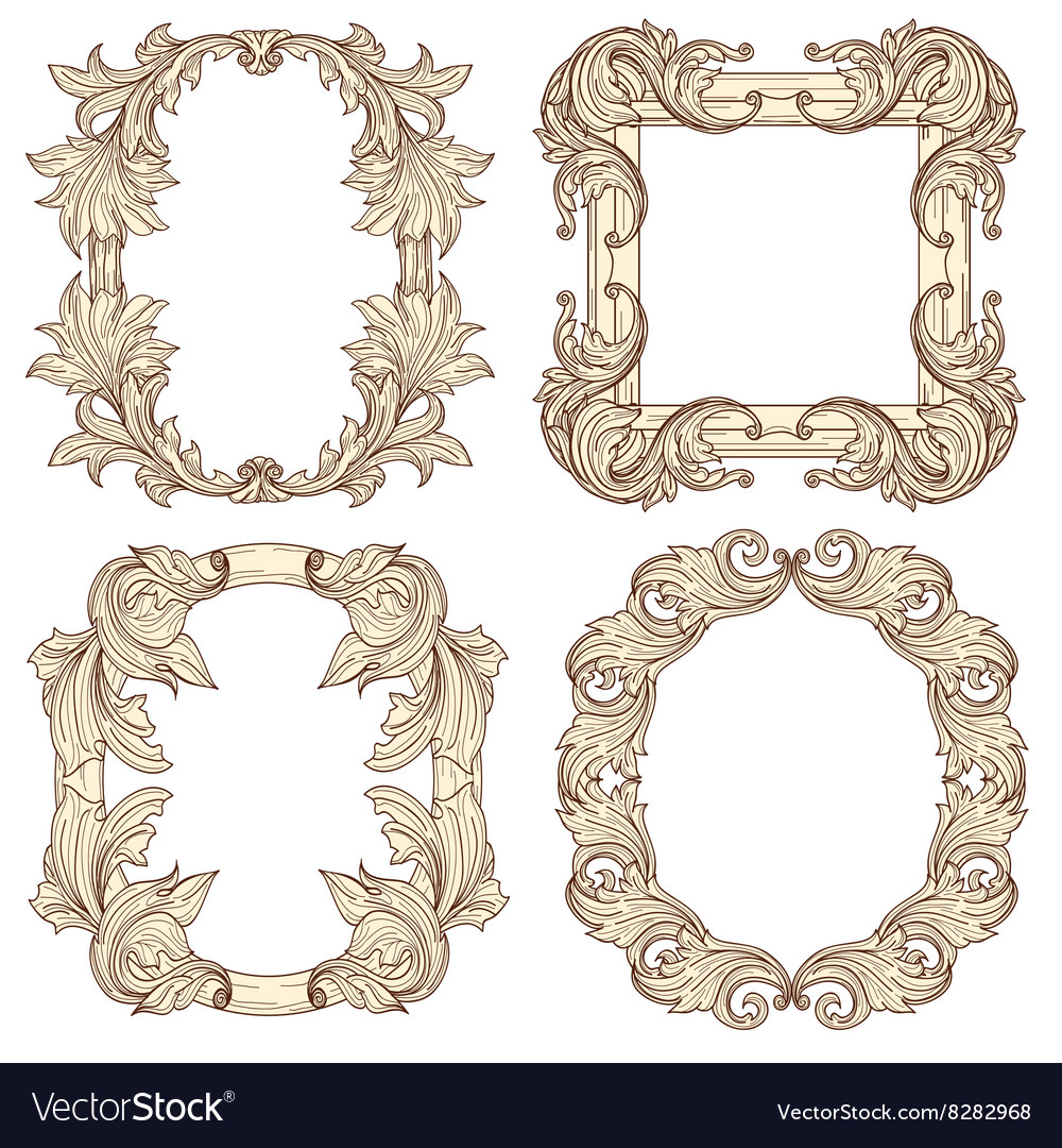 Picture frames in baroque antique style vector image
