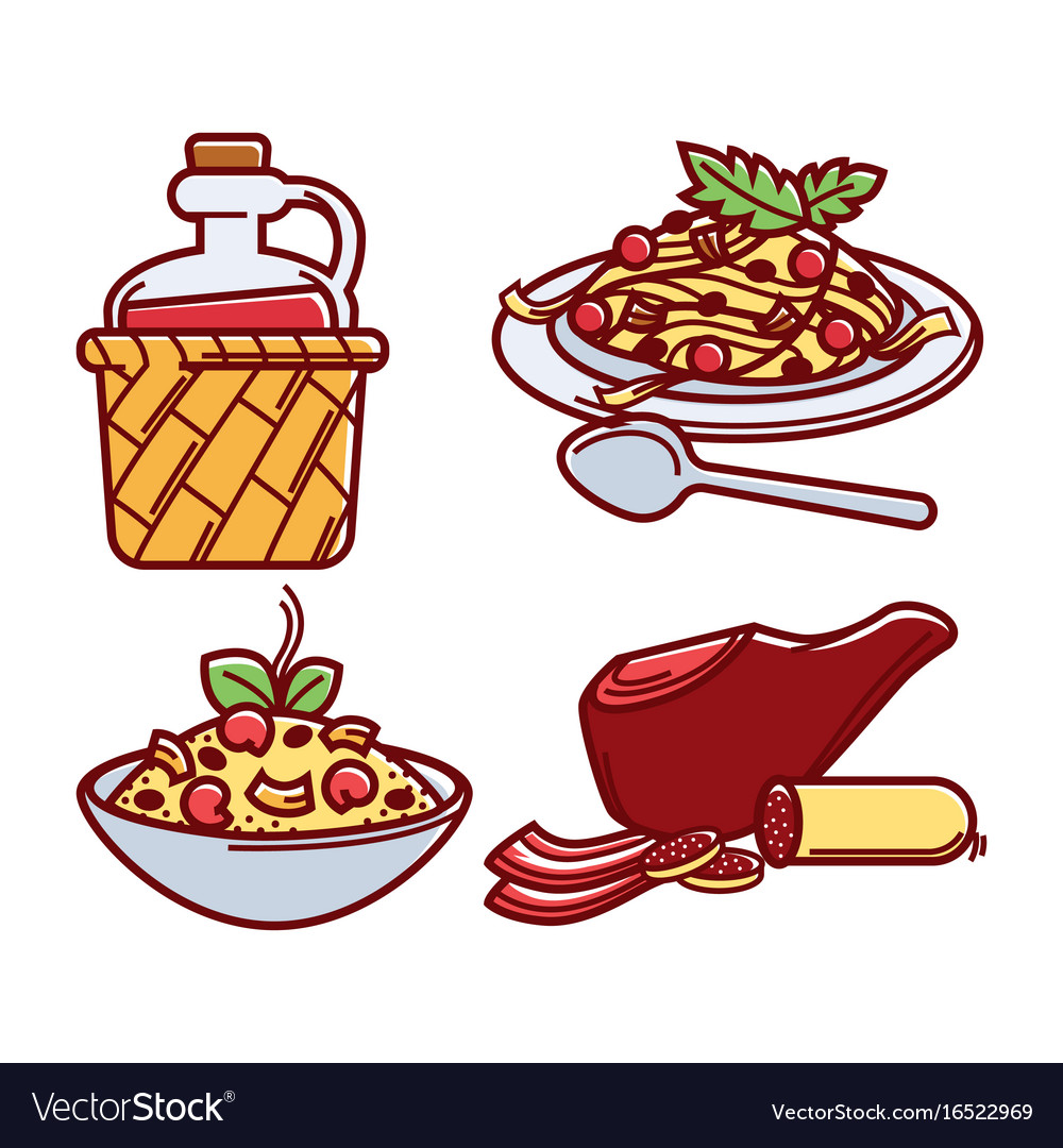 Italian traditional delicious food isolated vector image