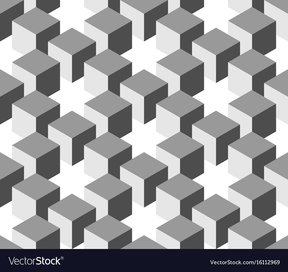 Seamless 3d geometrical pattern of cube columns vector image