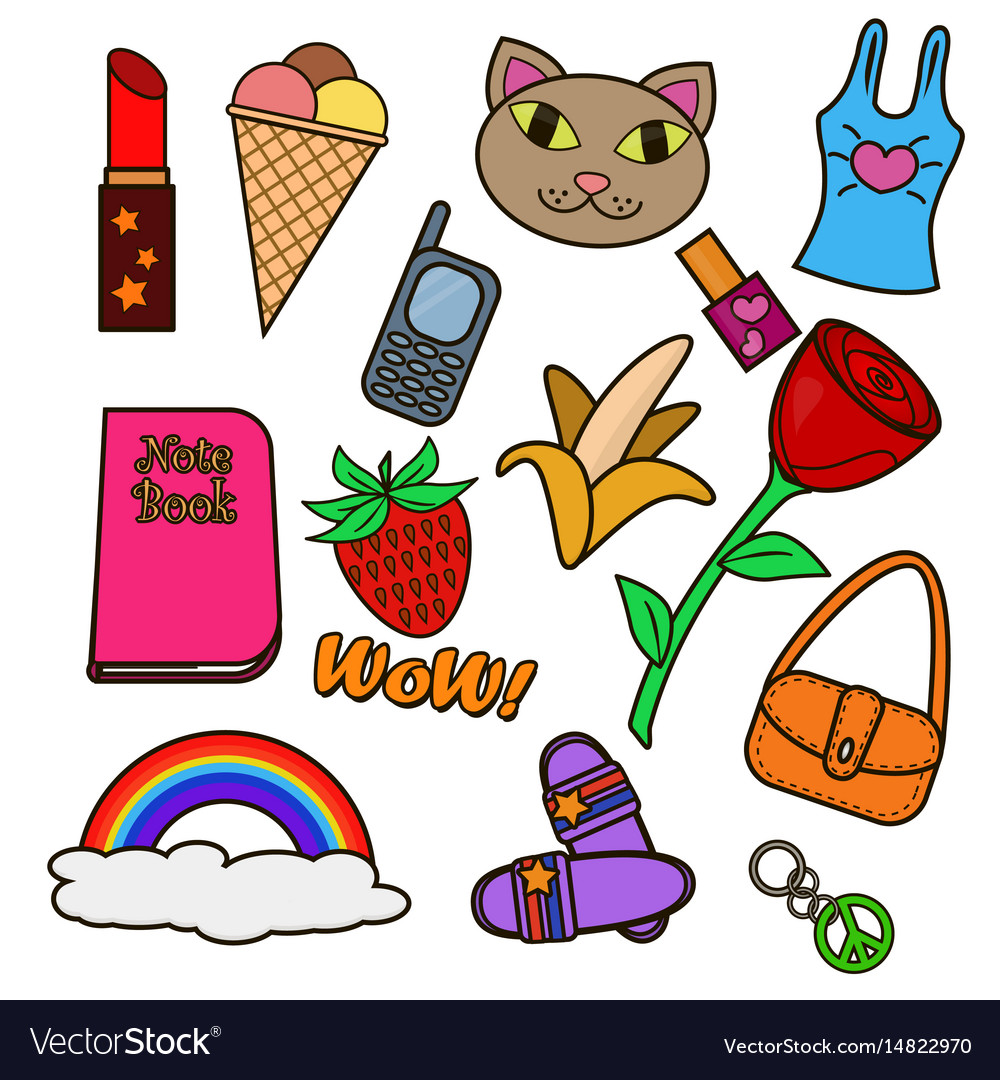 Colorful set of patches vector image