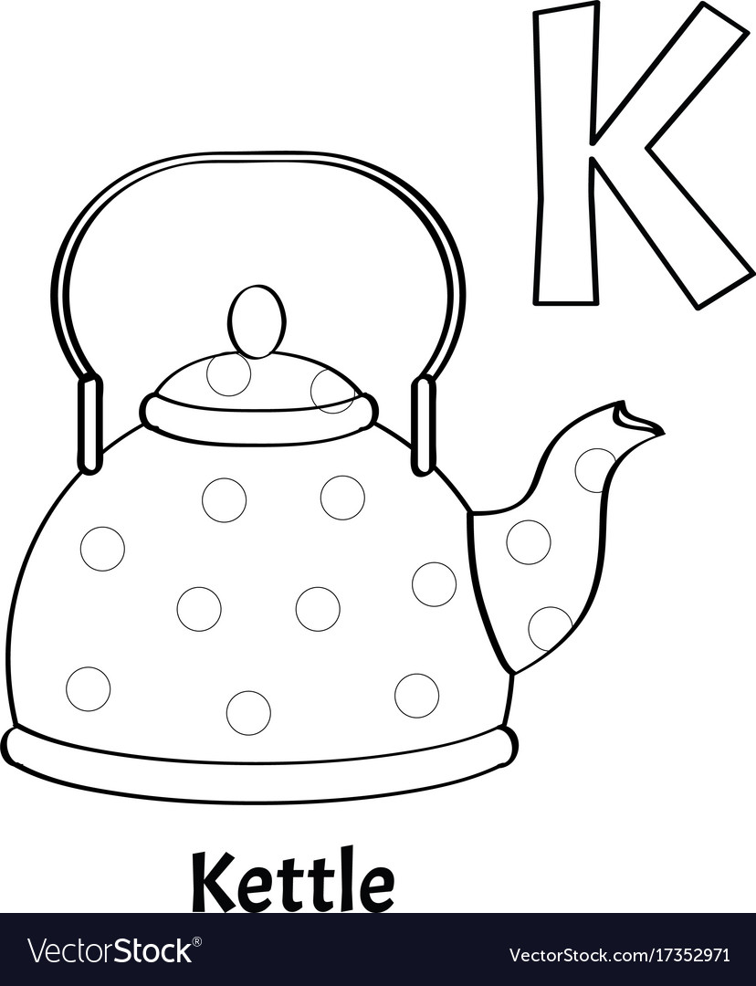 alphabet letter k coloring page kettle vector image - K Coloring Pages