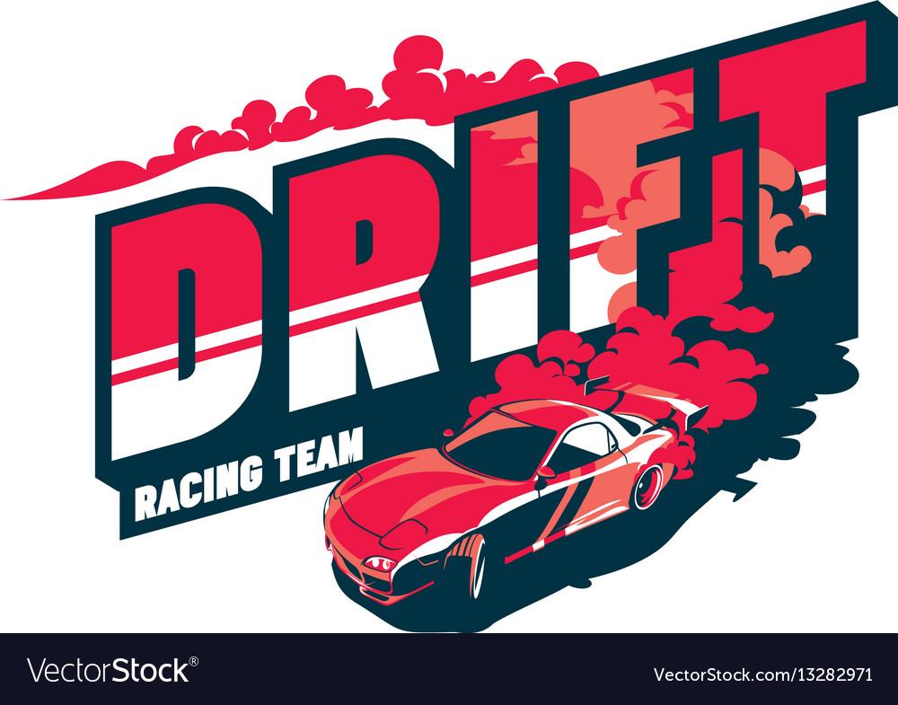 Burnout car japanese drift sport street racing Vector Image