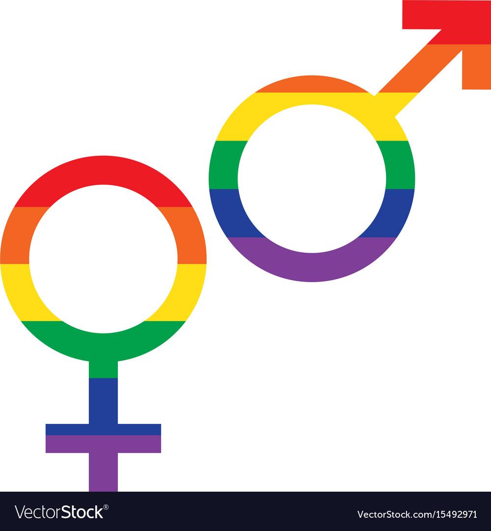 Rainbow flag male female symbols royalty free vector image rainbow flag male female symbols vector image buycottarizona