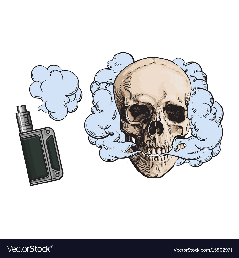 Smoke coming out of fleshless skull and vape vector image