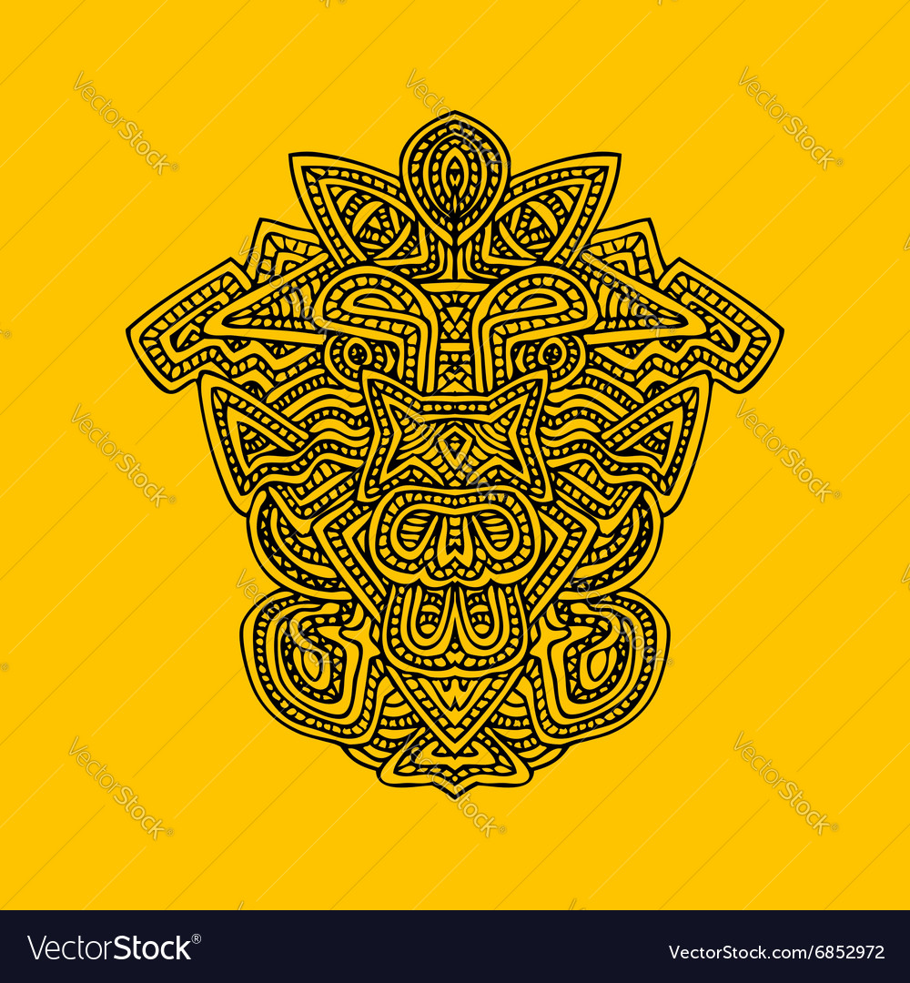 Aztec mask monochrome hand drawn vector image