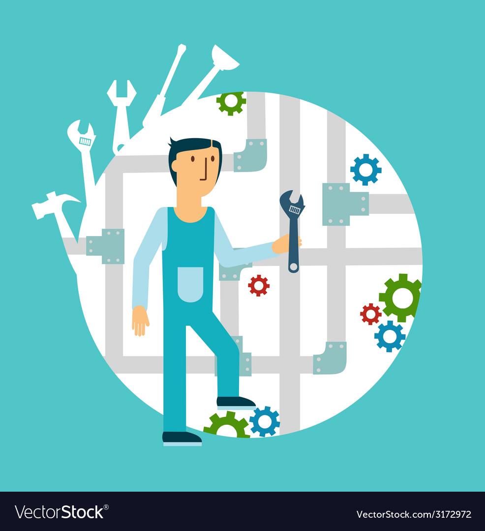 Plumber repairing pipes vector image