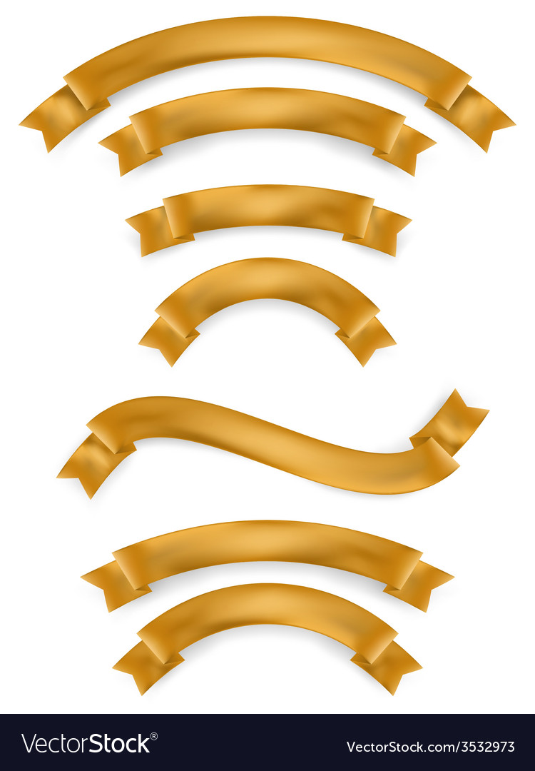 Set of gold ribbons EPS 10 vector image