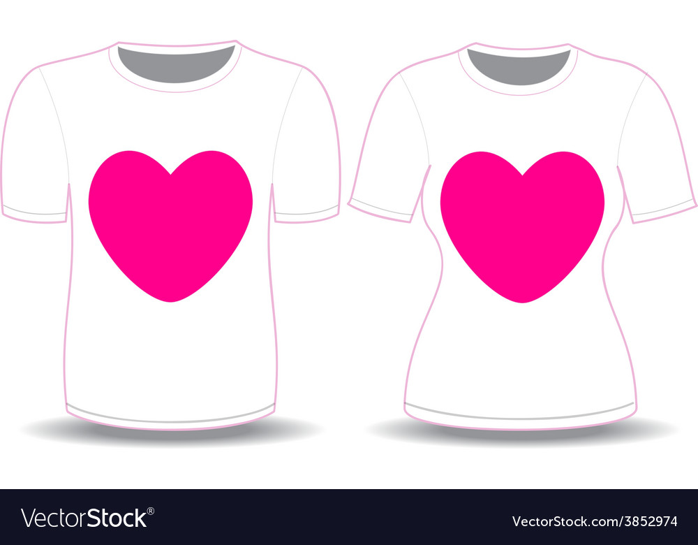 T shirt white pink heart template vector image