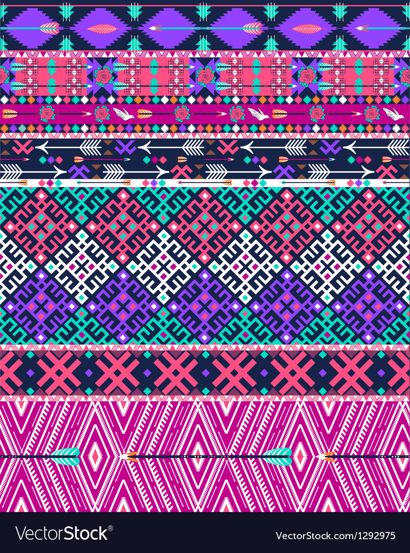 Tribal seamless aztec pattern with birds vector image