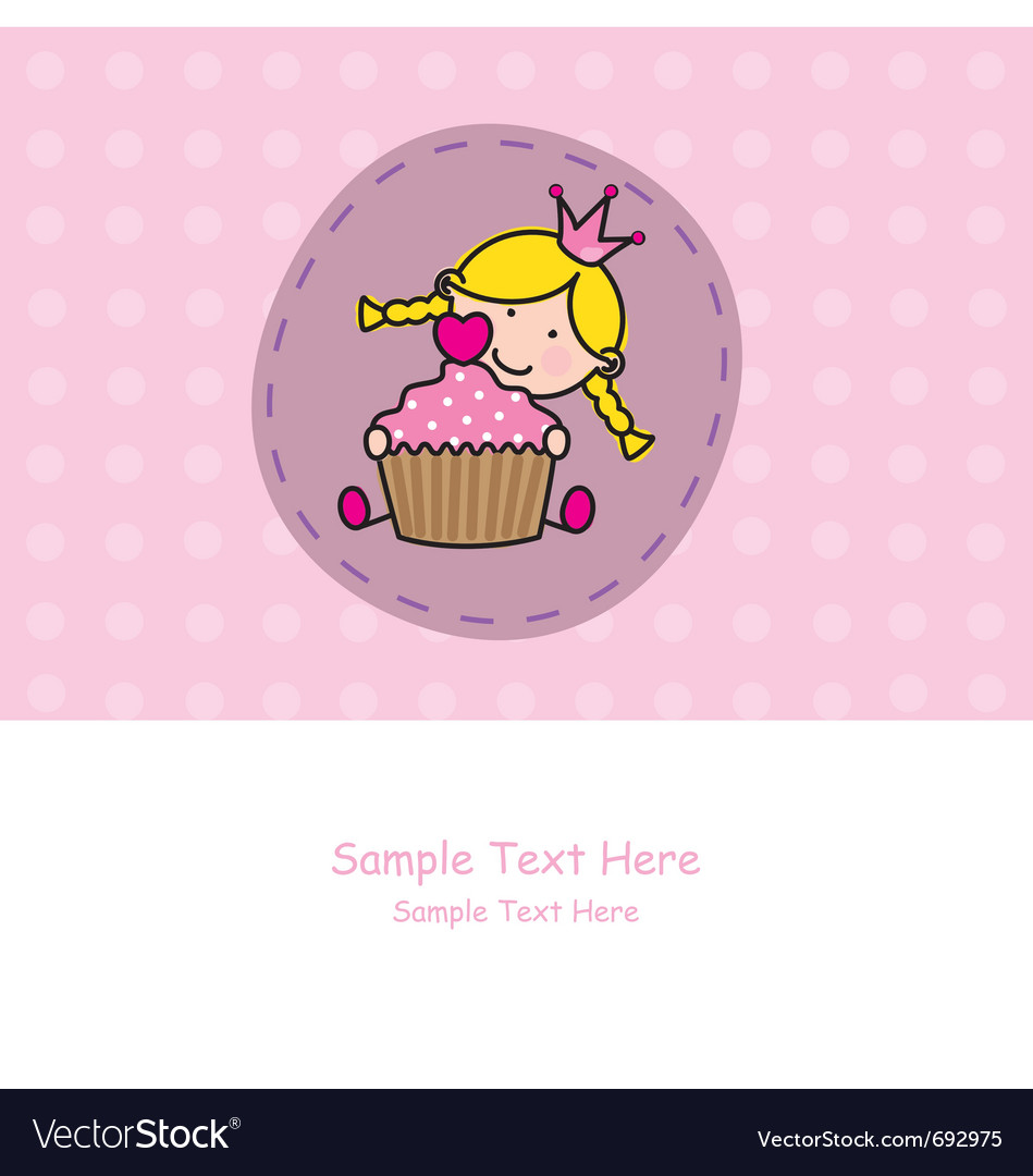 Baby girl with a muffin vector image