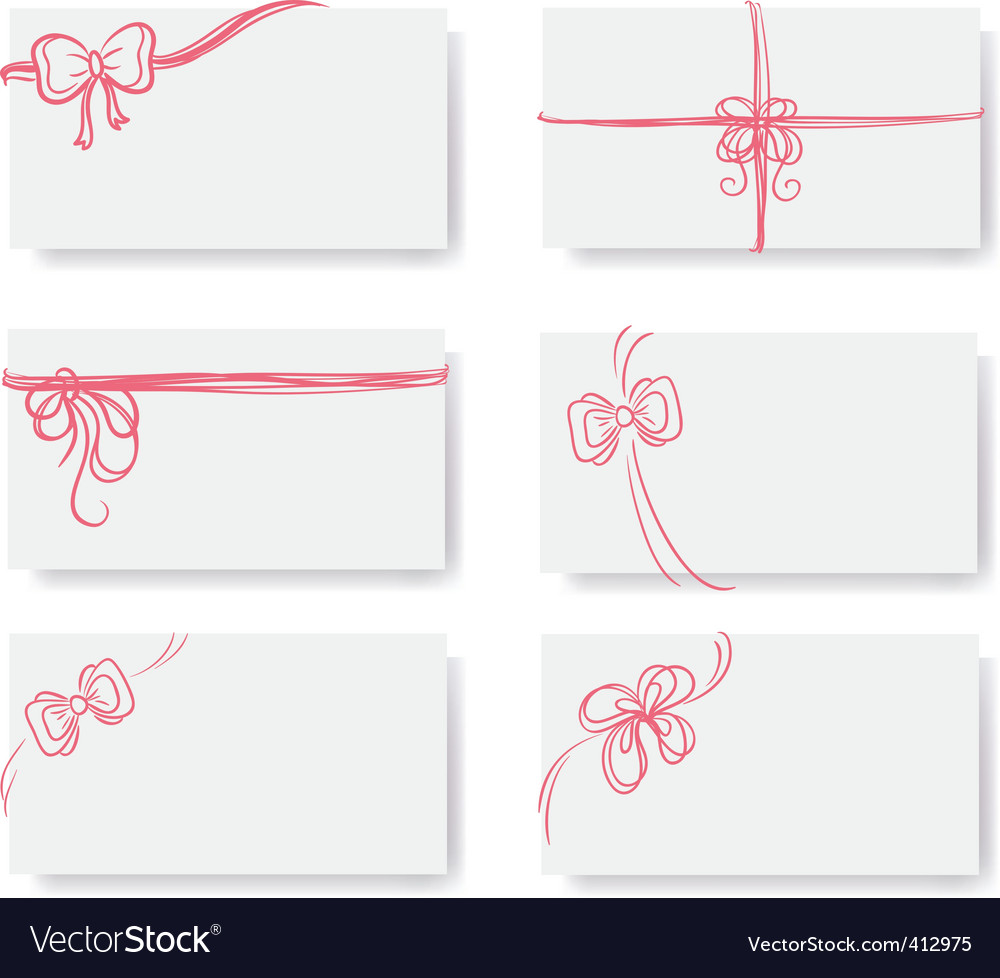 Card red bow ribbon doodle vector image