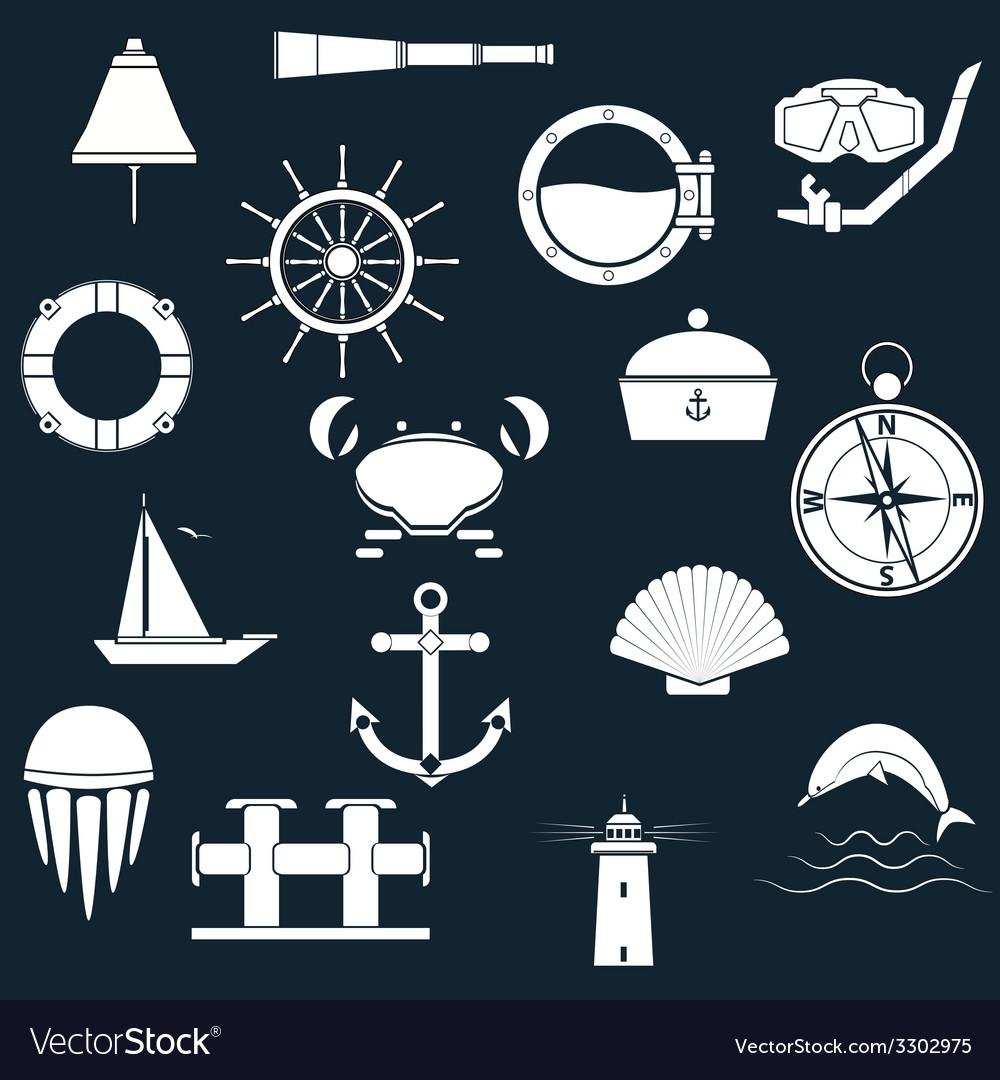 Marine icons vector image