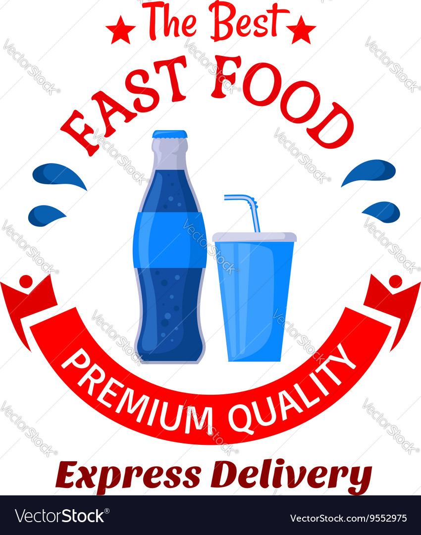 Soda drinks symbol for fast food cafe design vector image