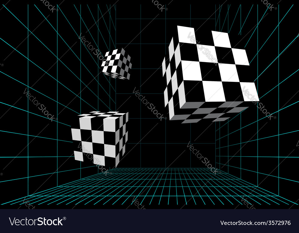 Wired room with checkered cubes vector image