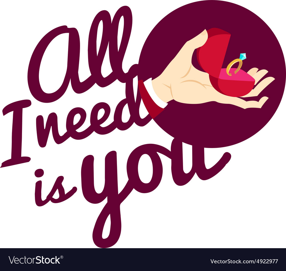 Hand holding wedding ring in a box Flat style vector image