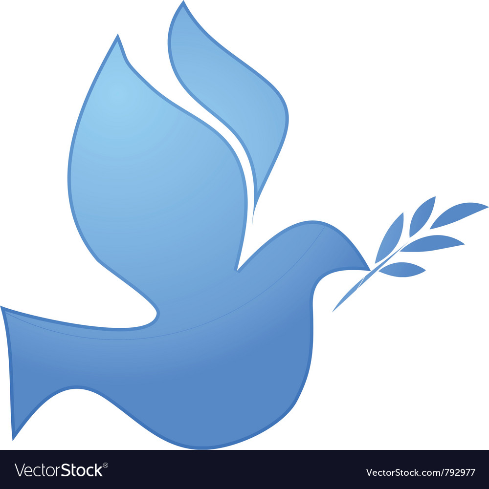 Peace symbol blue pigeon on white vector image