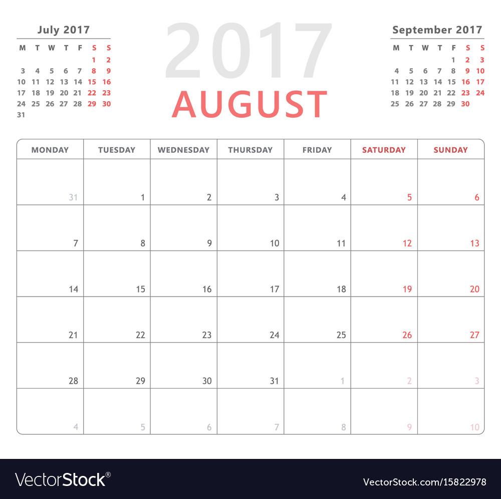 Calendar planner 2017 august week starts monday vector image