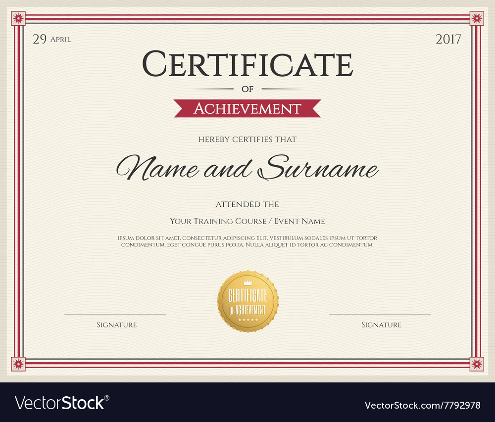 Certificate of achievement template red royalty free vector certificate of achievement template red vector image yadclub Image collections