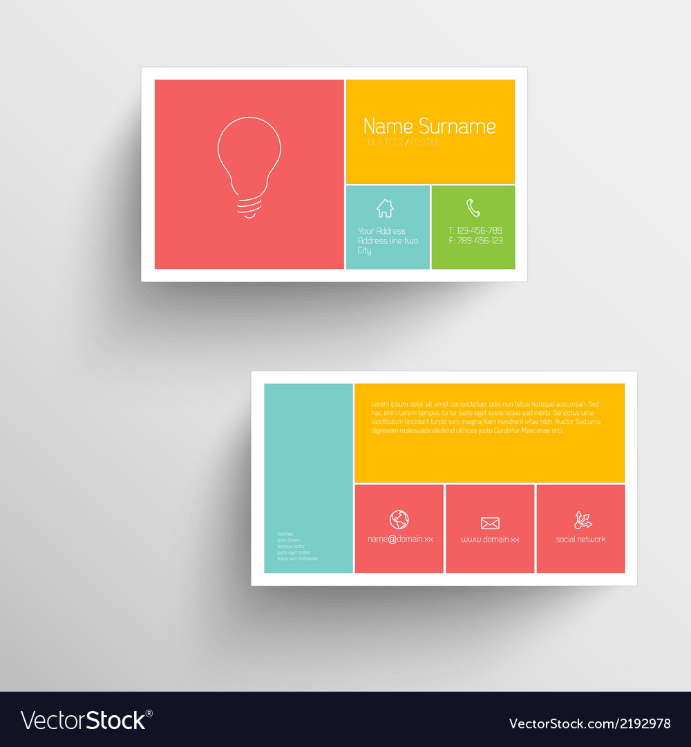 Modern business card template with flat mobile vector image wajeb