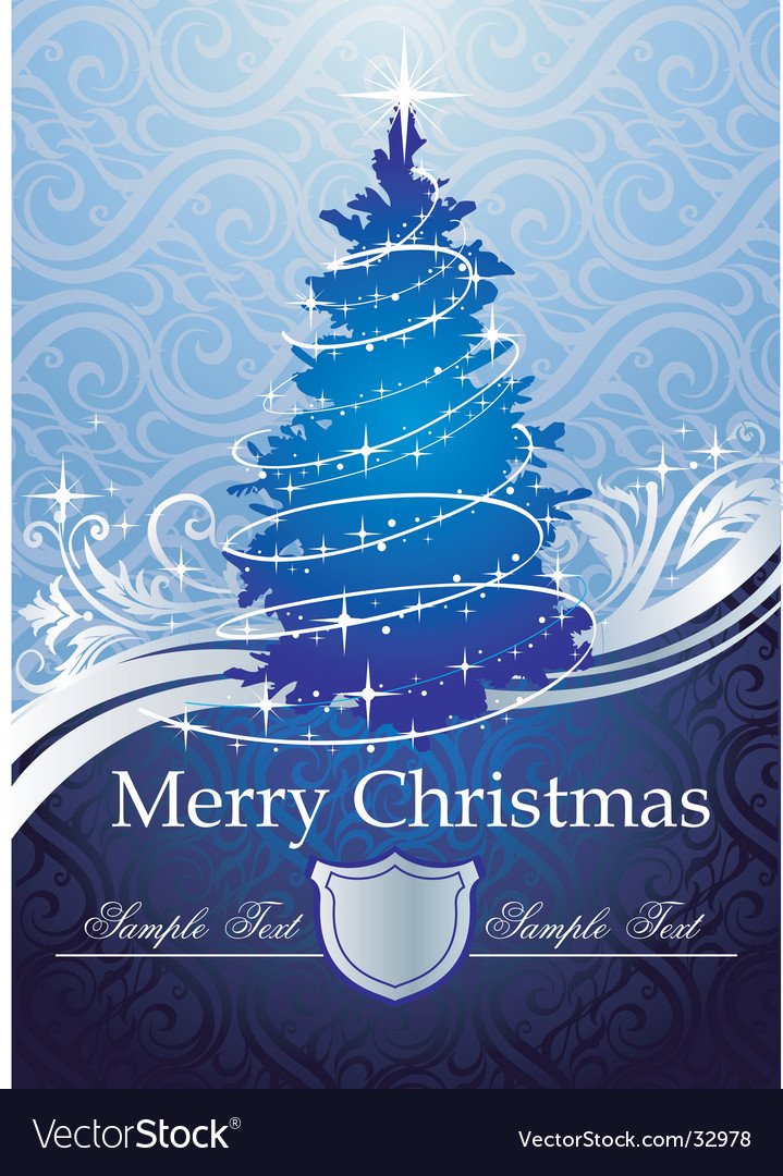 Silver-blue Christmas tree vector image