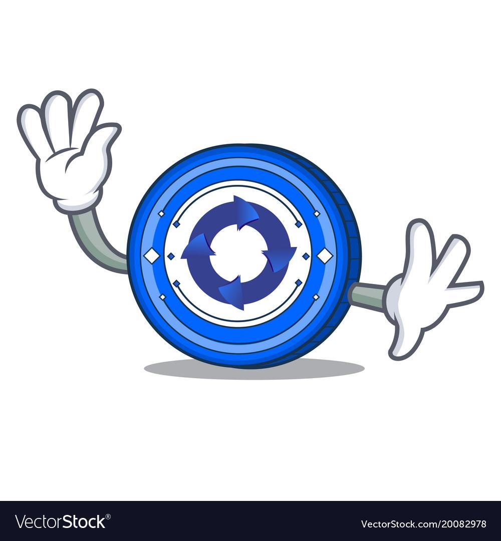 Waving cryptonex coin character cartoon vector image