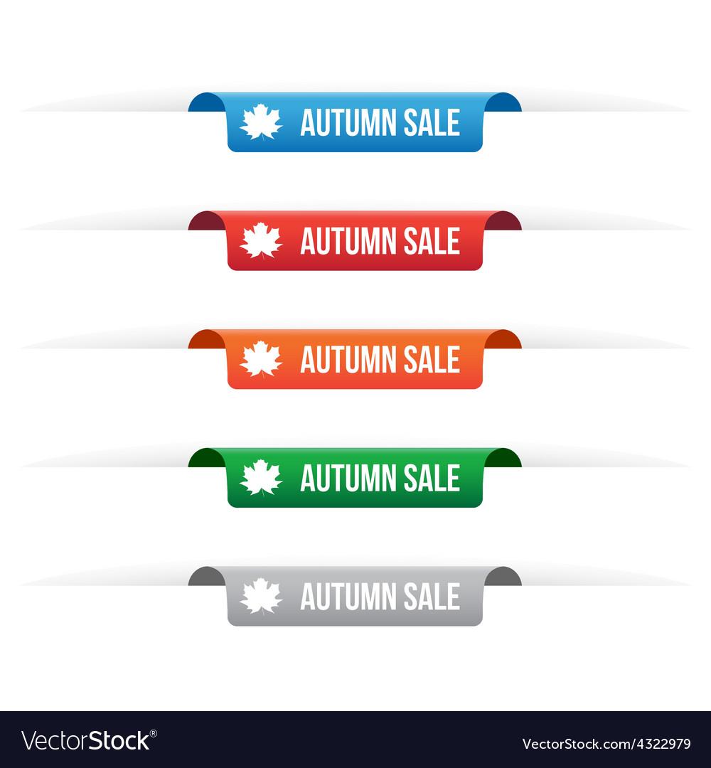 Autumn sale paper tag labels vector image