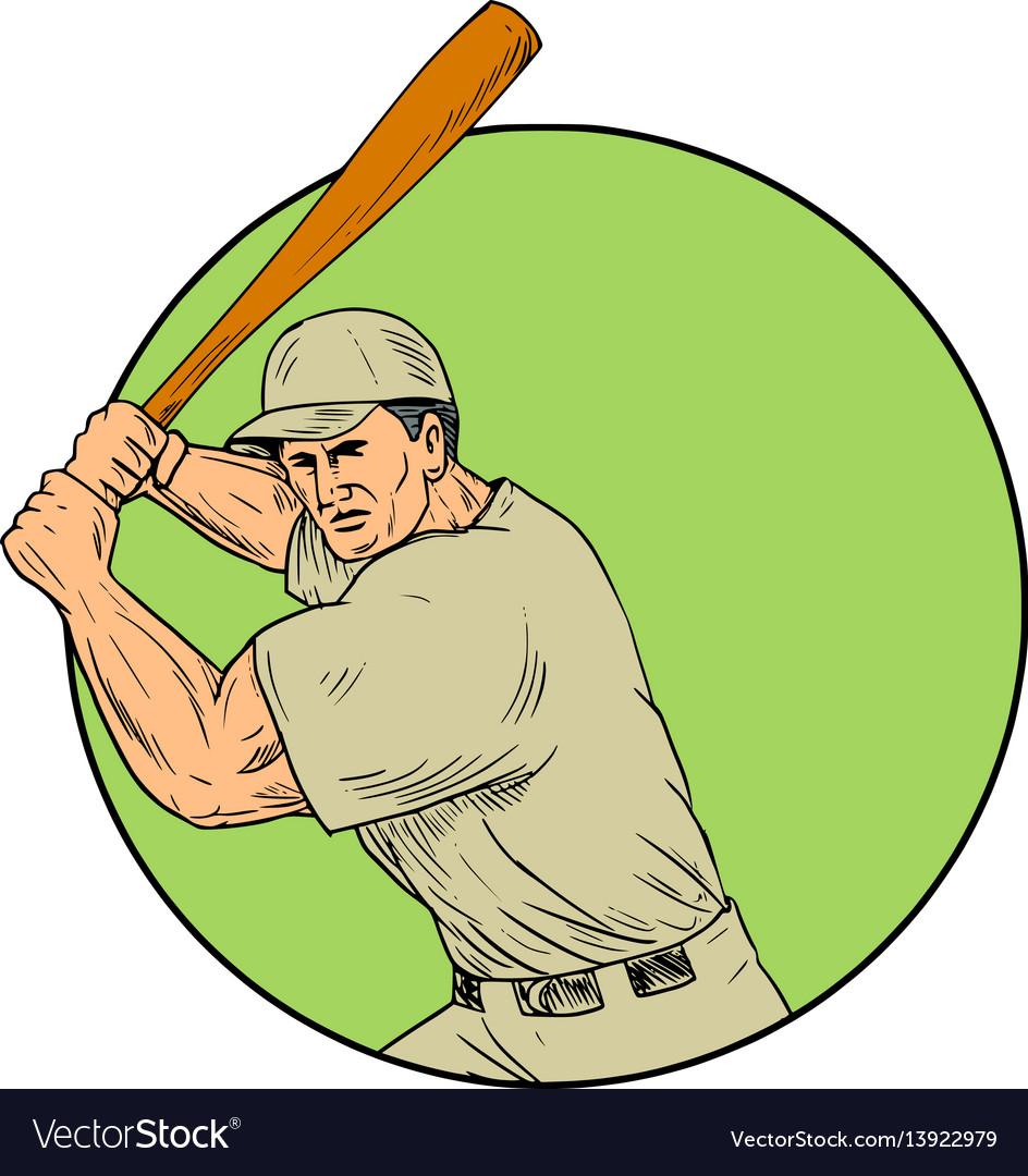 Baseball player batting stance circle drawing vector image