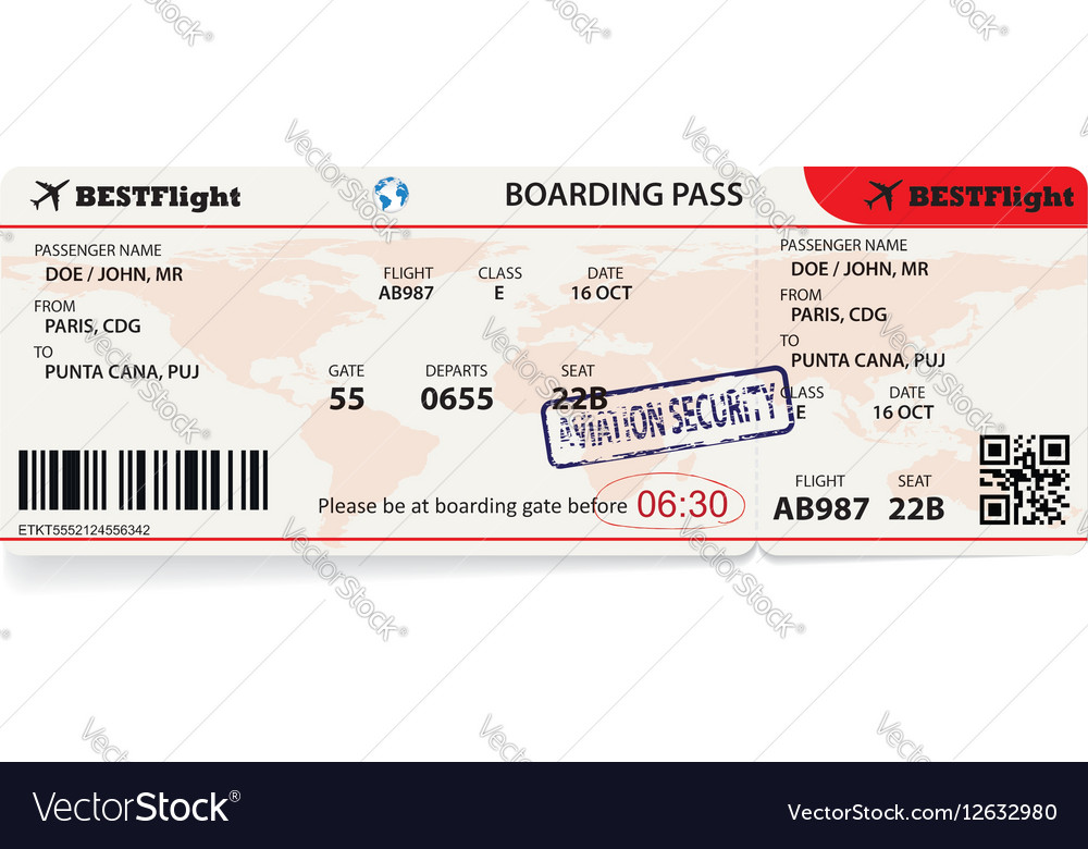 Boarding pass ticket for traveling by plane vector image