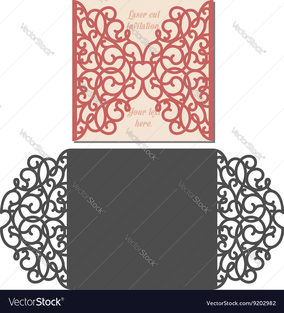 laser cut envelope template for invitation vector image. Black Bedroom Furniture Sets. Home Design Ideas