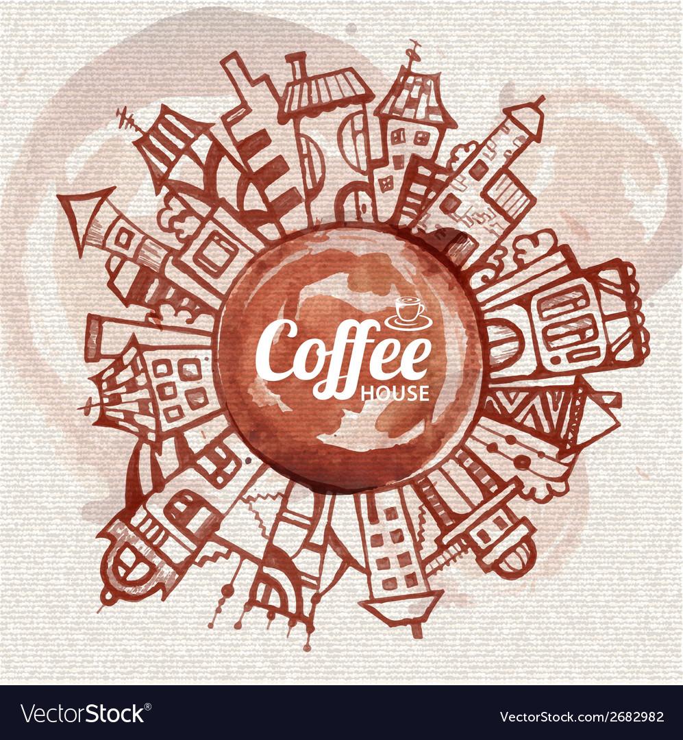 Decorative sketch of city Coffee design vector image
