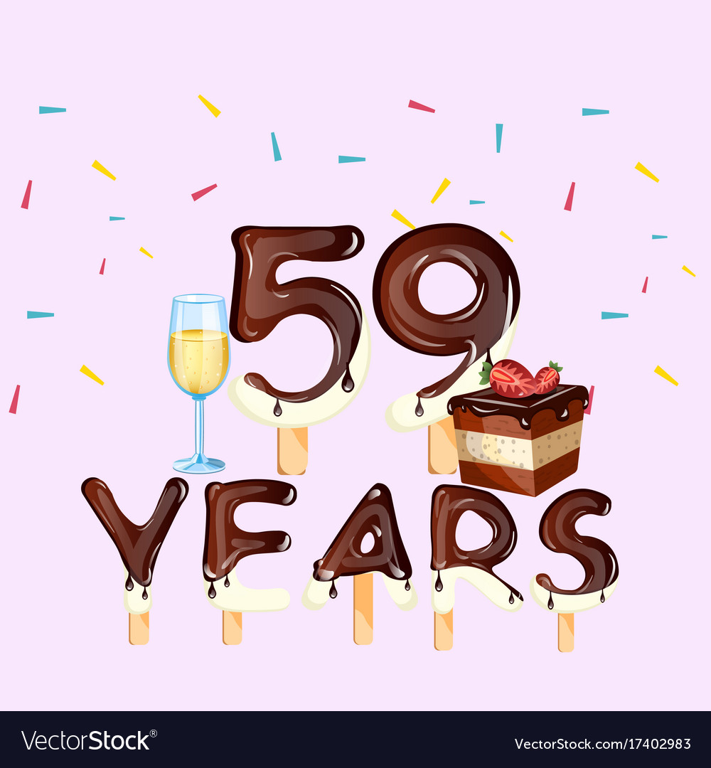 59th years happy birthday card royalty free vector image 59th years happy birthday card vector image bookmarktalkfo Images