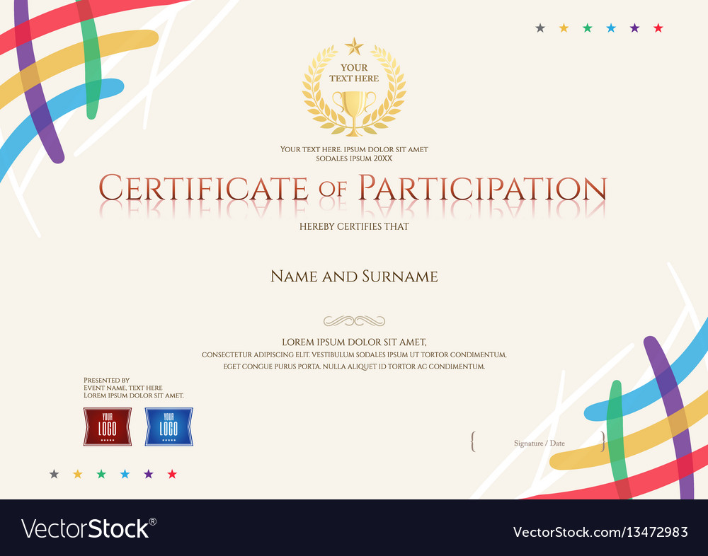 Certificate Of Participation Template Vector Image  Design Of Certificate Of Participation