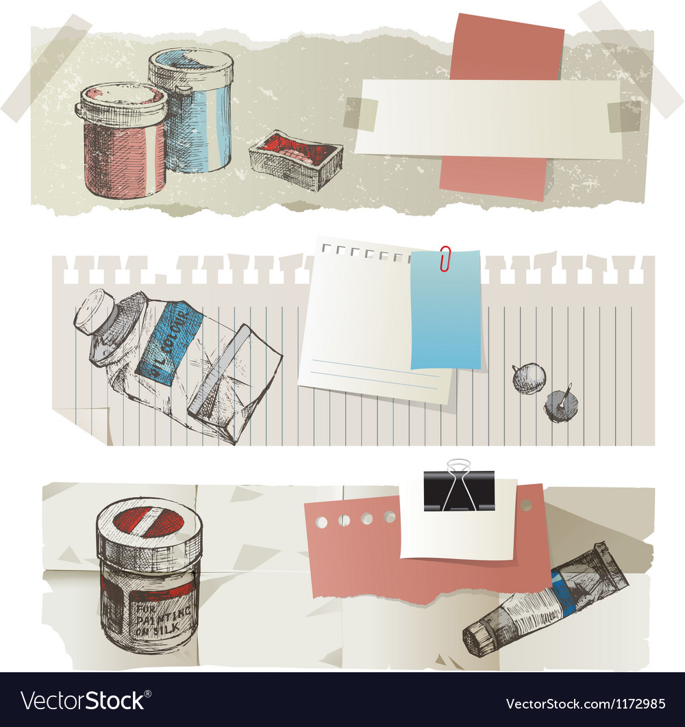 Paint tools banners Vector Image