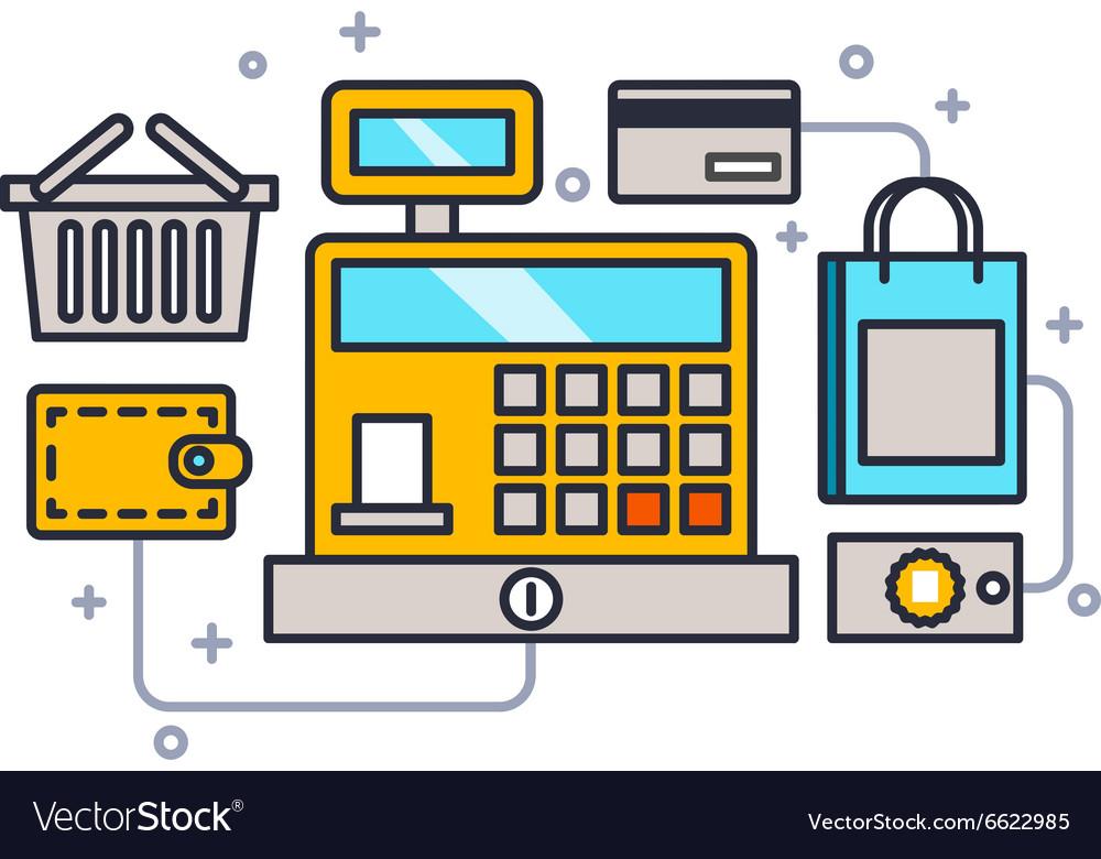 Cash register line style vector image