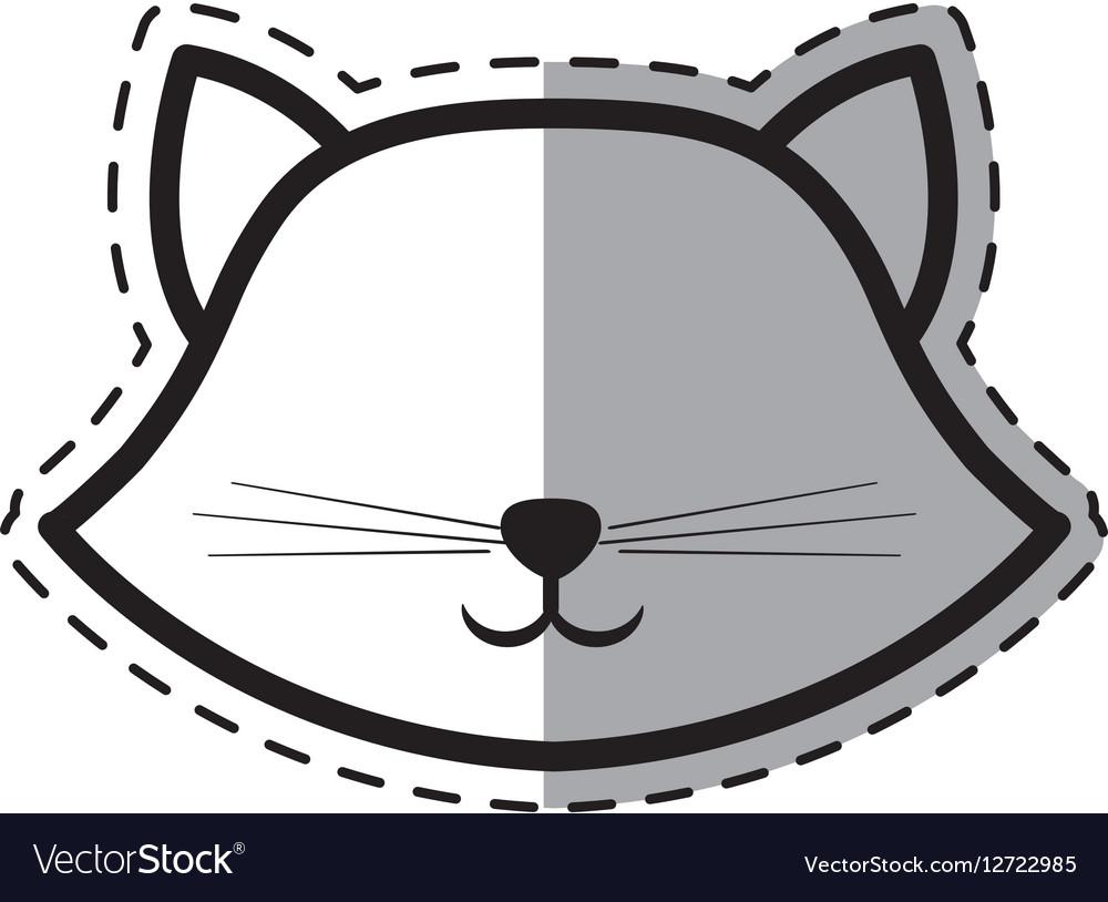 Face cat breed animal mammal dot line shadow vector image