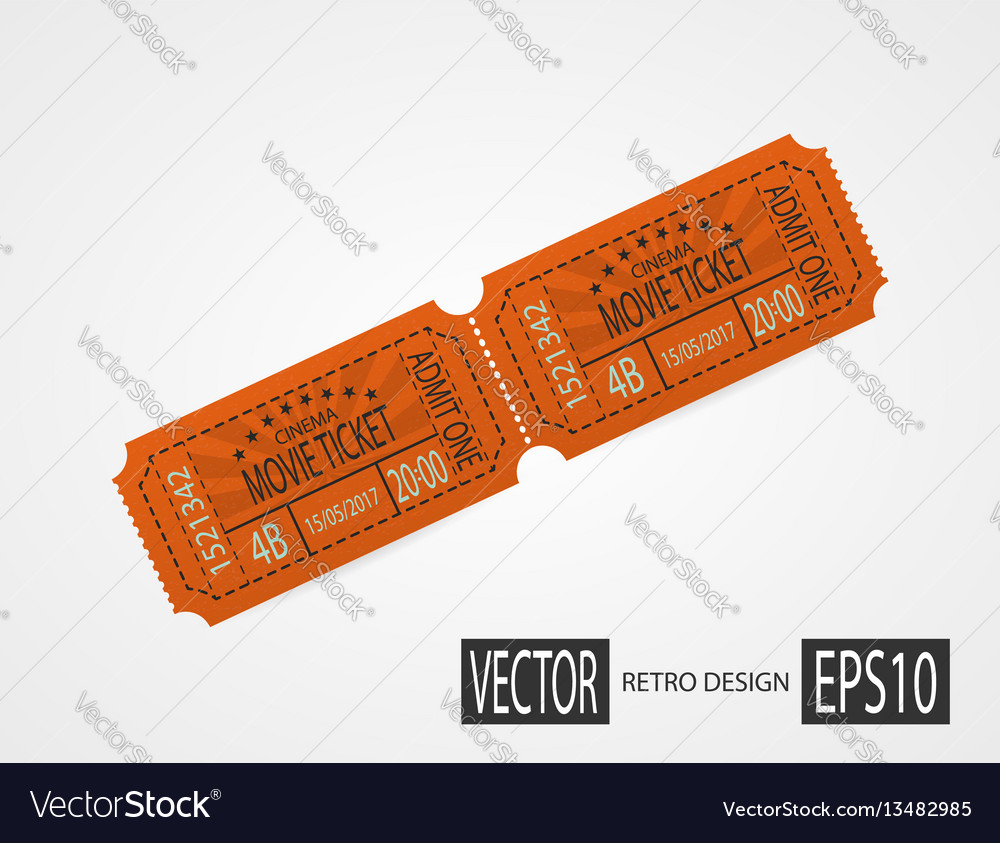 Retro cinema tickets orange design vector image