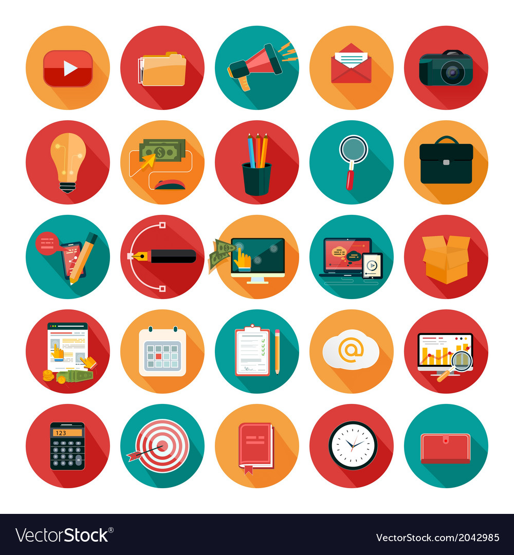 Web design objects business office and marketing vector image