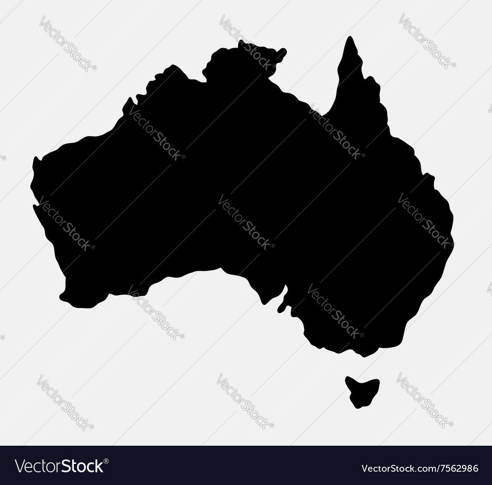 Australia island map silhouette vector image